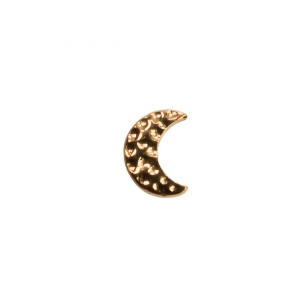 Yellow Gold Hammered Moon Plain End